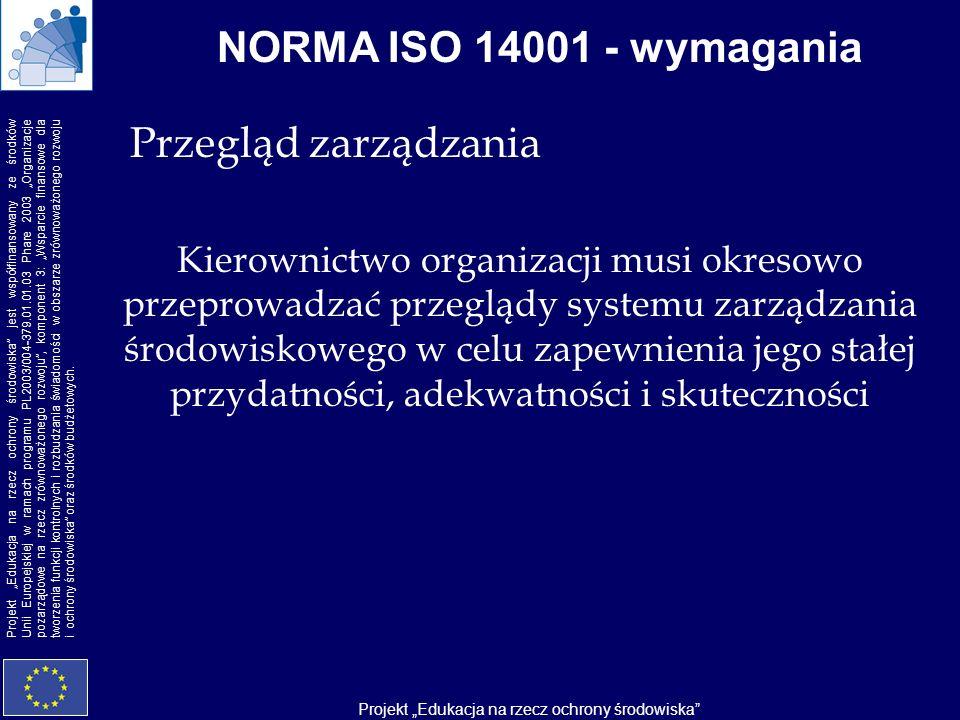 NORMA ISO 14001 - wymagania Przegląd zarządzania