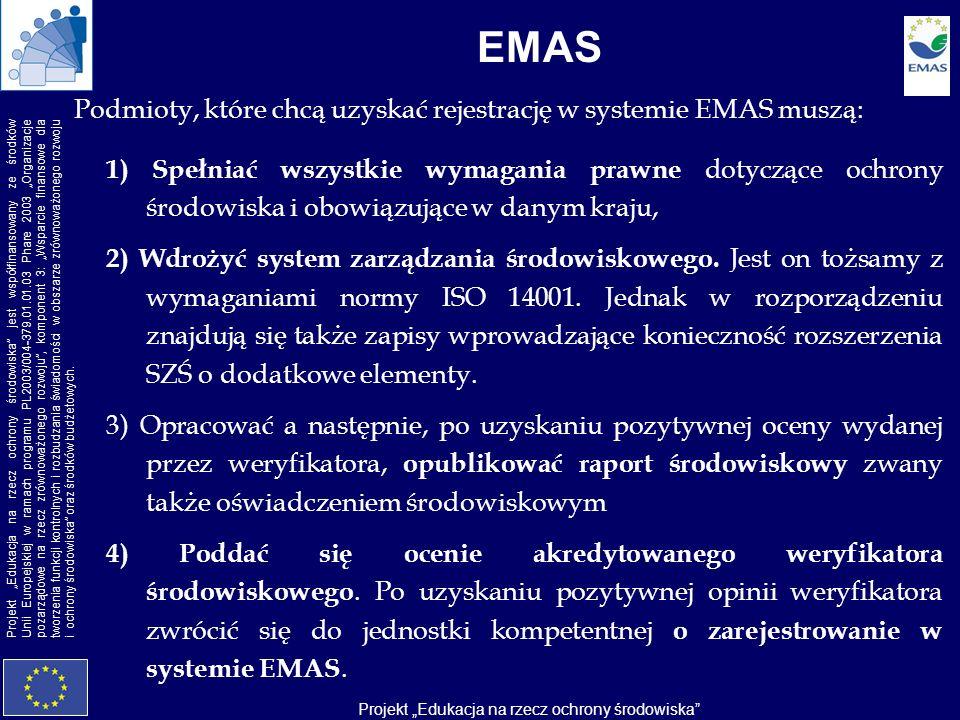EMAS Podmioty, które chcą uzyskać rejestrację w systemie EMAS muszą: