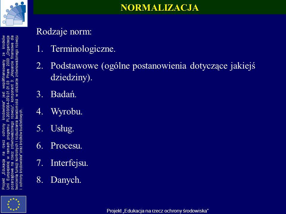 NORMALIZACJA Rodzaje norm: Terminologiczne. Podstawowe (ogólne postanowienia dotyczące jakiejś dziedziny).