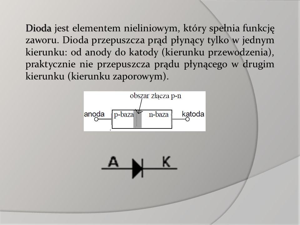 Dioda jest elementem nieliniowym, który spełnia funkcję zaworu