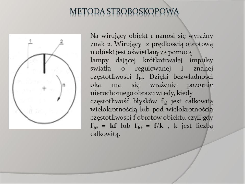 Metoda stroboskopowaNa wirujący obiekt 1 nanosi się wyraźny znak 2. Wirujący z prędkością obrotową n obiekt jest oświetlany za pomocą.