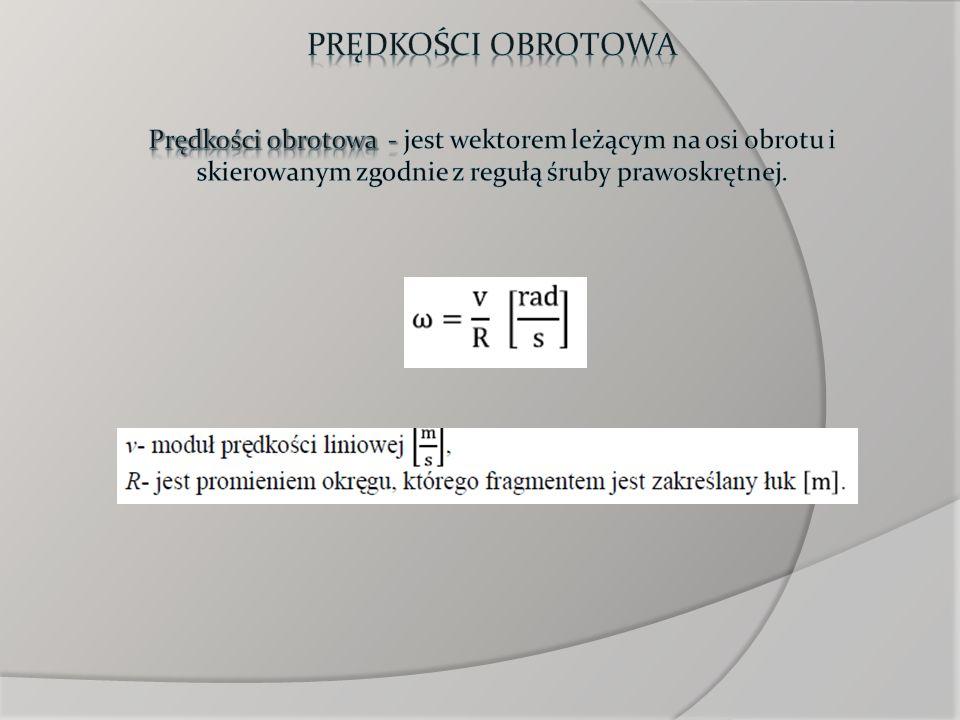 Prędkości obrotowaPrędkości obrotowa - jest wektorem leżącym na osi obrotu i skierowanym zgodnie z regułą śruby prawoskrętnej.