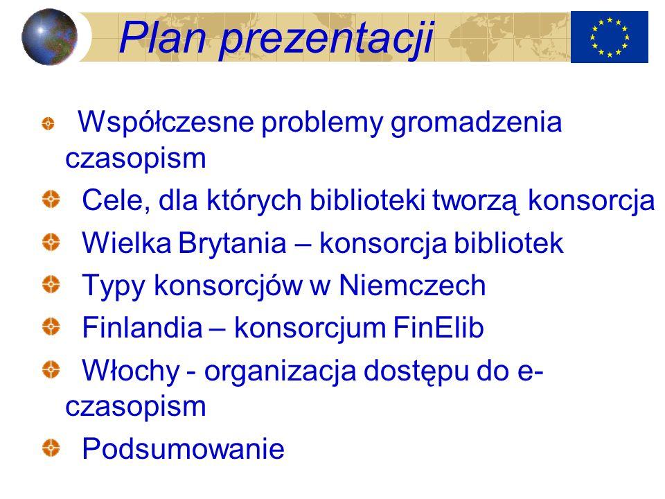 Plan prezentacji Cele, dla których biblioteki tworzą konsorcja