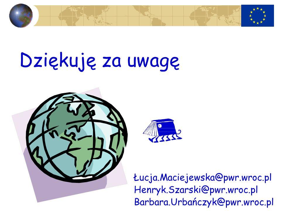 Dziękuję za uwagę Łucja.Maciejewska@pwr.wroc.pl