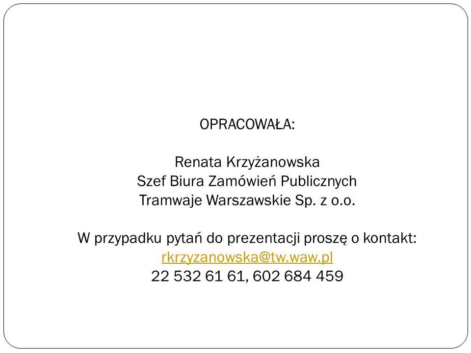 Szef Biura Zamówień Publicznych Tramwaje Warszawskie Sp. z o.o.
