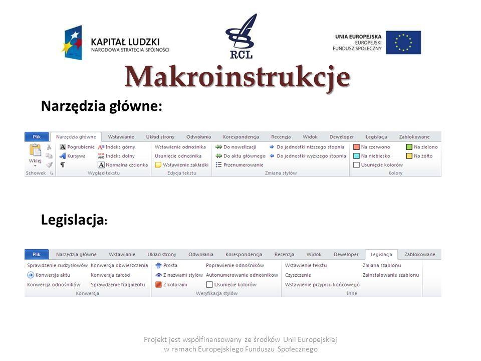 Makroinstrukcje Narzędzia główne: Legislacja: