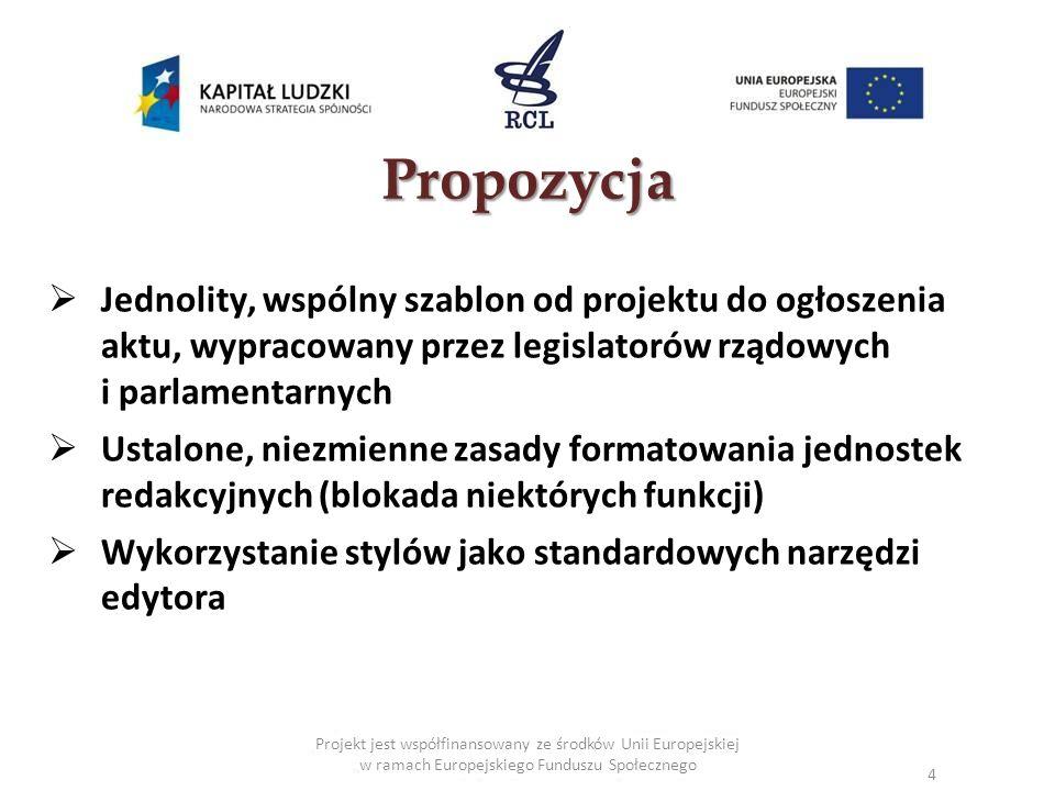Propozycja Jednolity, wspólny szablon od projektu do ogłoszenia aktu, wypracowany przez legislatorów rządowych i parlamentarnych.