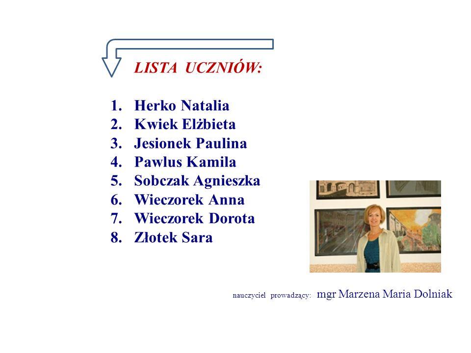 LISTA UCZNIÓW: Herko Natalia Kwiek Elżbieta Jesionek Paulina