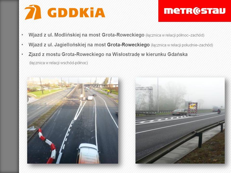 Wjazd z ul. Modlińskiej na most Grota-Roweckiego (łącznica w relacji północ–zachód)