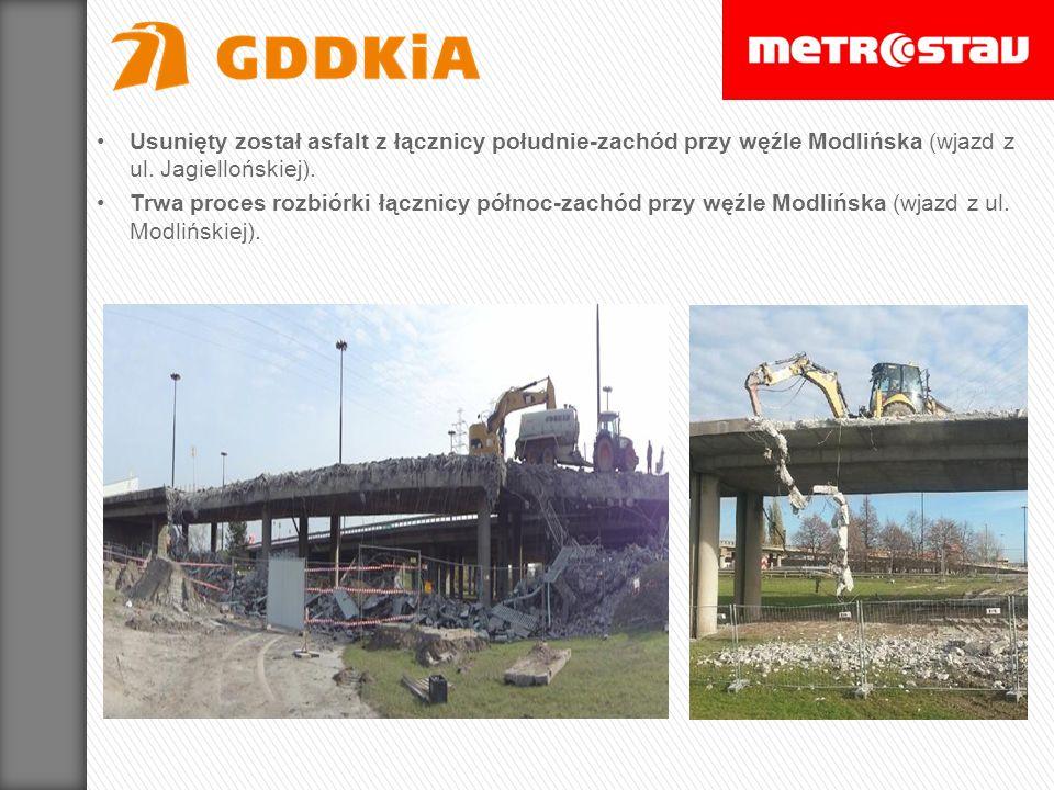 Usunięty został asfalt z łącznicy południe-zachód przy węźle Modlińska (wjazd z ul. Jagiellońskiej).