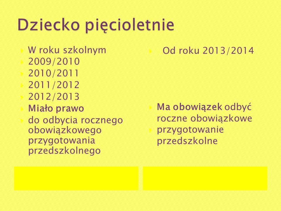Dziecko pięcioletnie W roku szkolnym 2009/2010 2010/2011 2011/2012