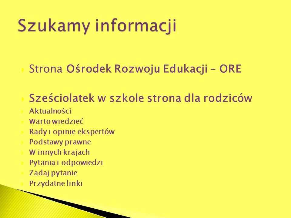 Szukamy informacji Strona Ośrodek Rozwoju Edukacji – ORE
