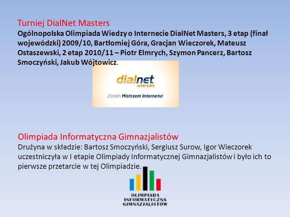 Turniej DialNet Masters Ogólnopolska Olimpiada Wiedzy o Internecie DialNet Masters, 3 etap (finał wojewódzki) 2009/10, Bartłomiej Góra, Gracjan Wieczorek, Mateusz Ostaszewski, 2 etap 2010/11 – Piotr Elmrych, Szymon Pancerz, Bartosz Smoczyński, Jakub Wójtowicz.