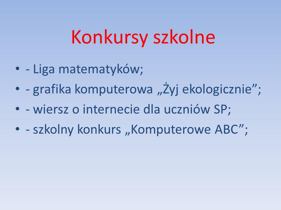 Konkursy szkolne - Liga matematyków;