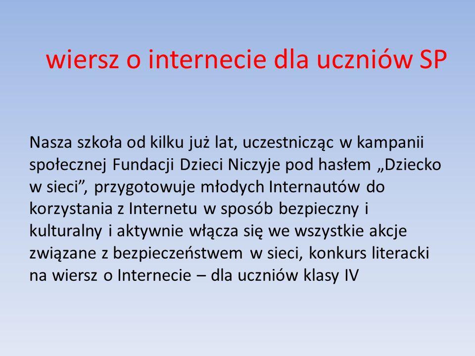 wiersz o internecie dla uczniów SP
