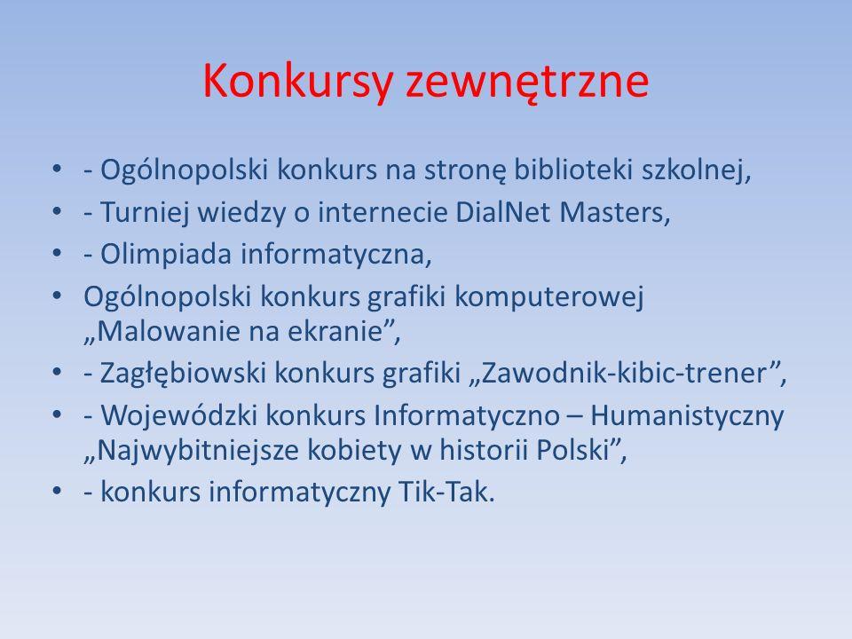 Konkursy zewnętrzne - Ogólnopolski konkurs na stronę biblioteki szkolnej, - Turniej wiedzy o internecie DialNet Masters,