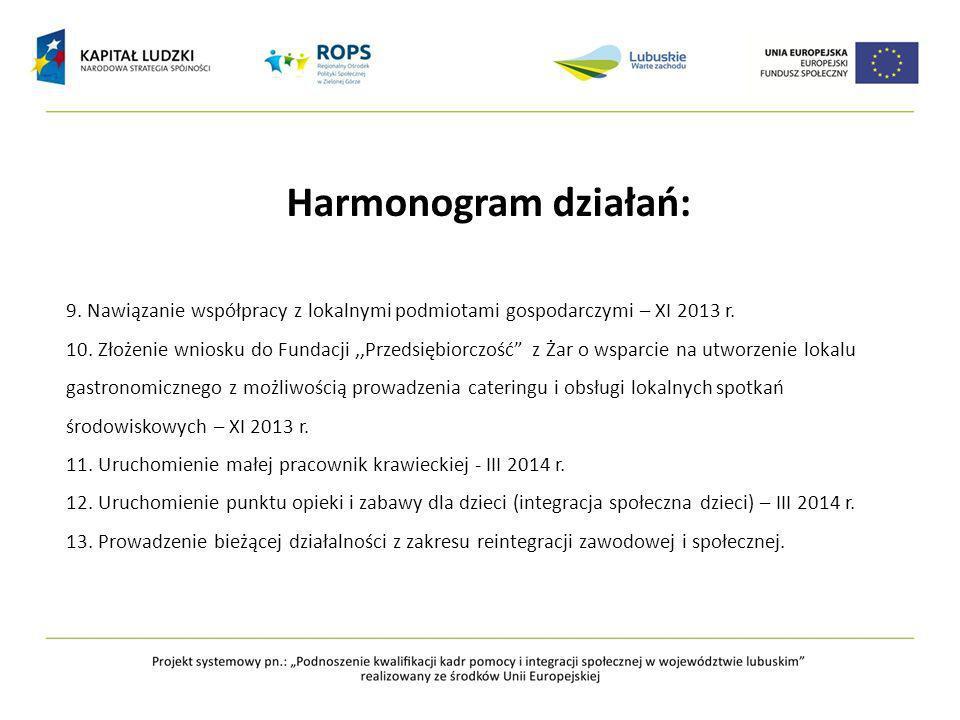Harmonogram działań: 9. Nawiązanie współpracy z lokalnymi podmiotami gospodarczymi – XI 2013 r.