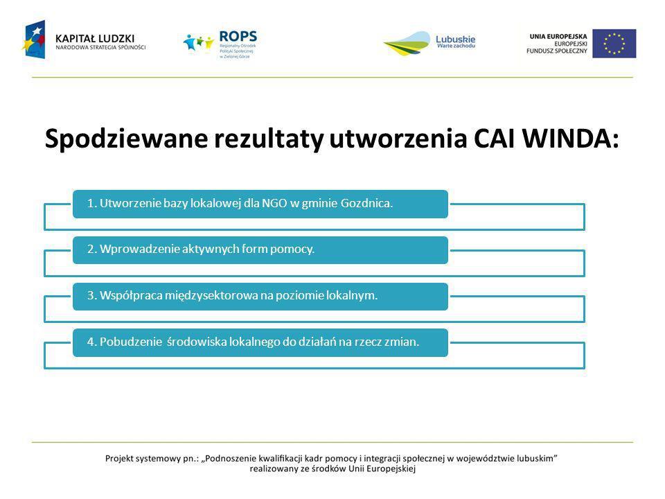 Spodziewane rezultaty utworzenia CAI WINDA: