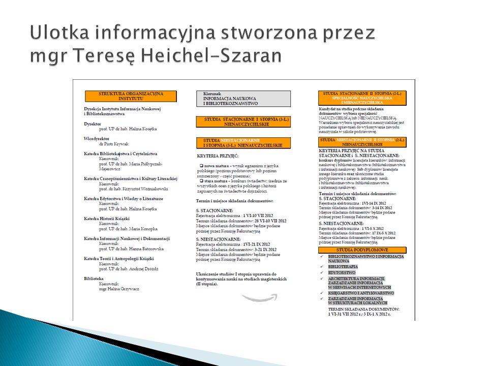 Ulotka informacyjna stworzona przez mgr Teresę Heichel-Szaran