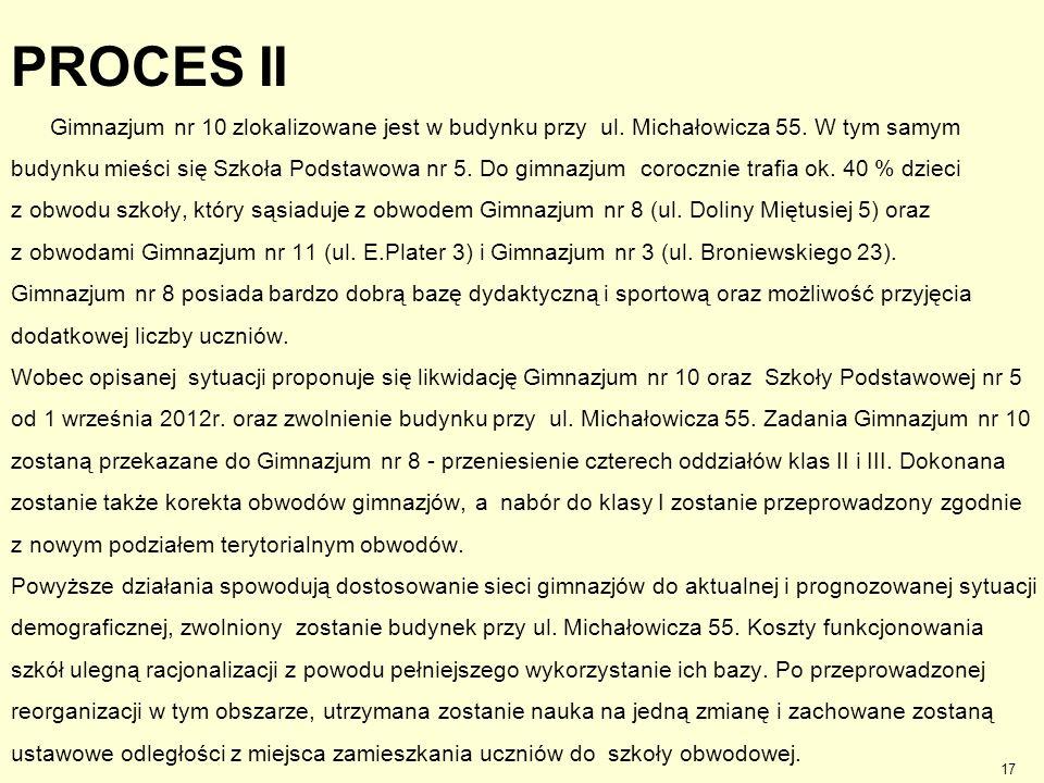 PROCES II Gimnazjum nr 10 zlokalizowane jest w budynku przy ul. Michałowicza 55. W tym samym.