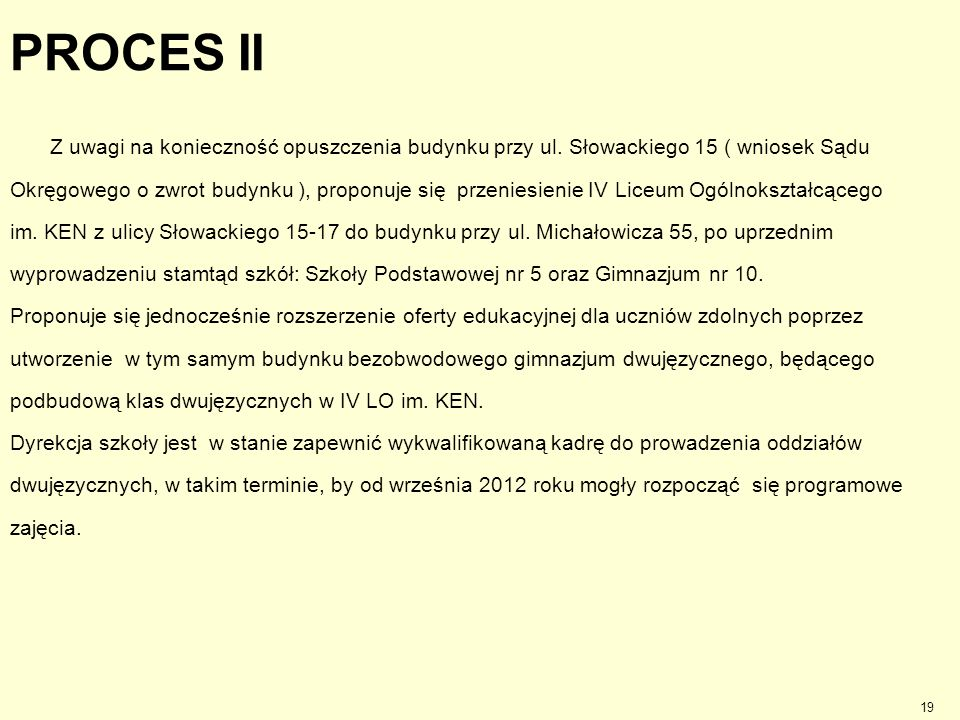 PROCES II Z uwagi na konieczność opuszczenia budynku przy ul. Słowackiego 15 ( wniosek Sądu.