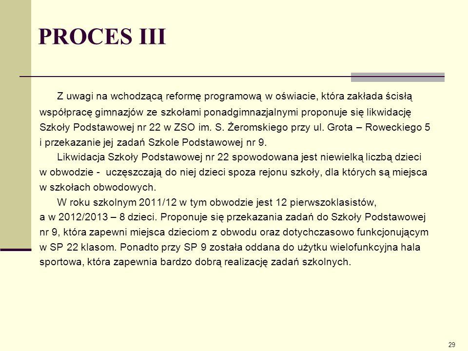 PROCES III Z uwagi na wchodzącą reformę programową w oświacie, która zakłada ścisłą.
