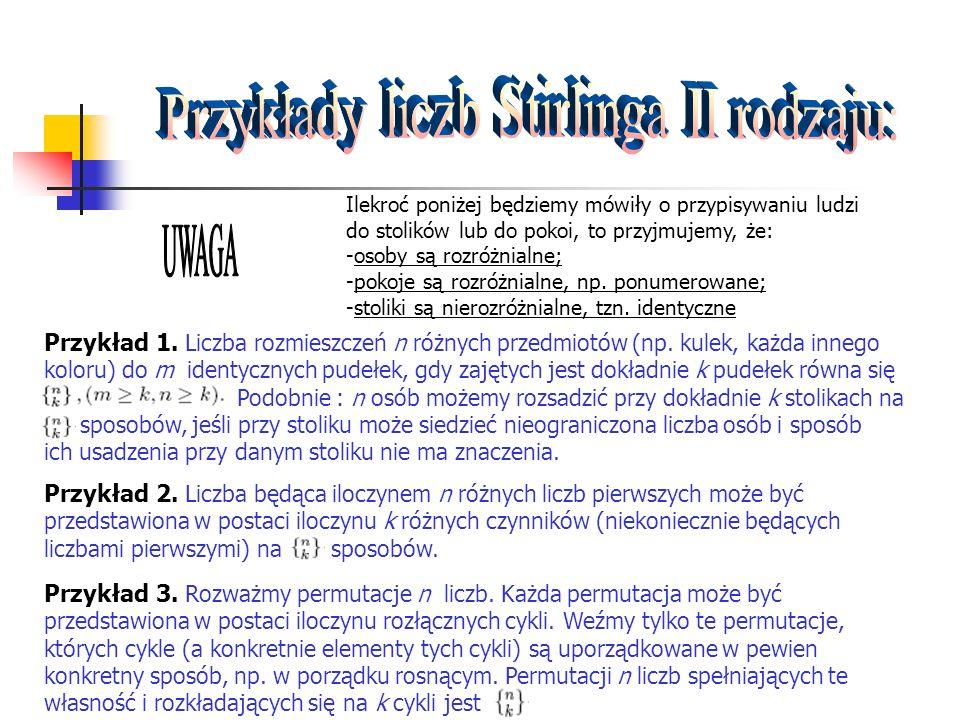 Przykłady liczb Stirlinga II rodzaju: