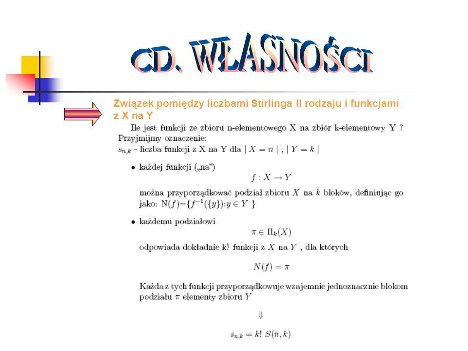 CD. WŁASNOŚCI Związek pomiędzy liczbami Stirlinga II rodzaju i funkcjami z X na Y