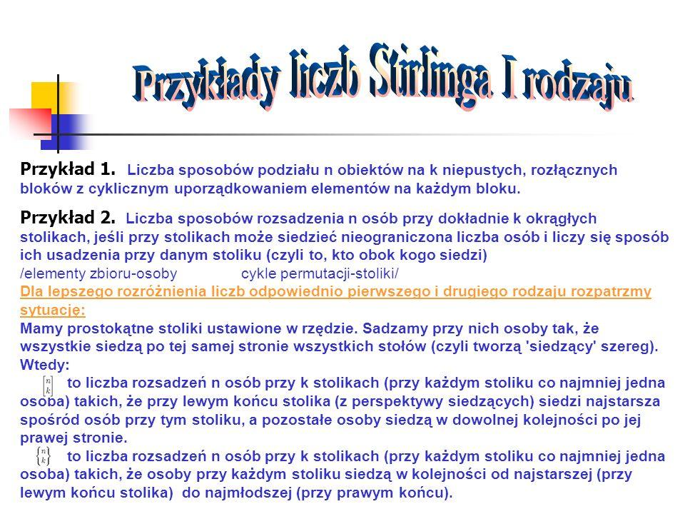 Przykłady liczb Stirlinga I rodzaju