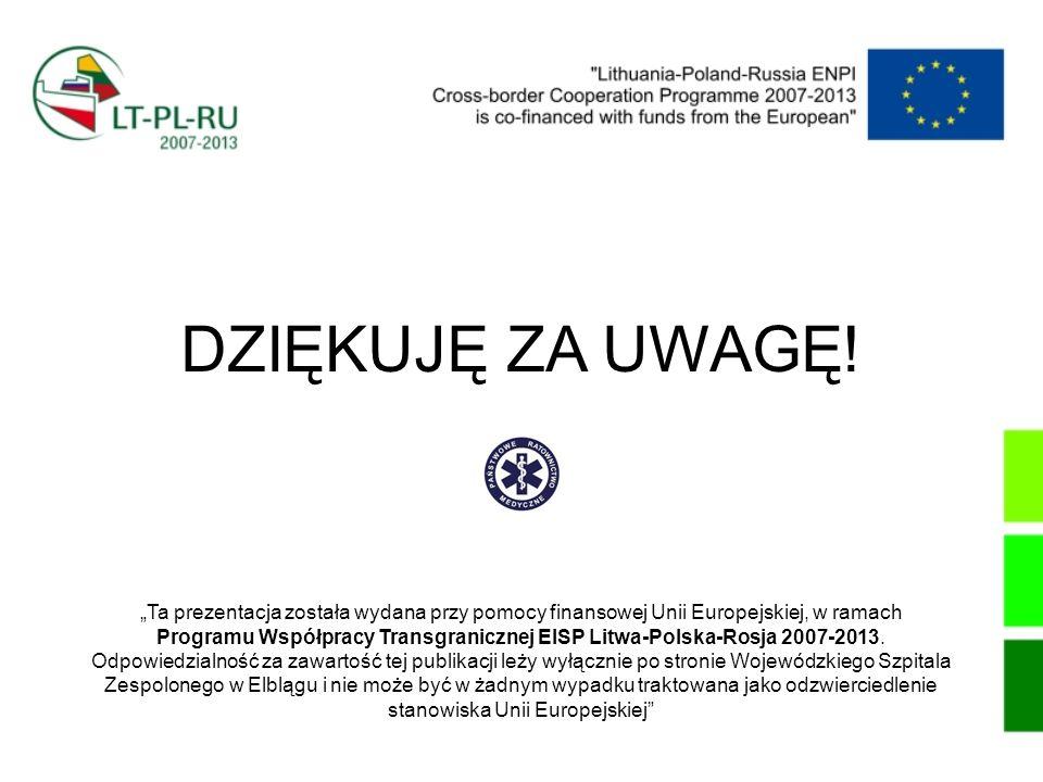 """DZIĘKUJĘ ZA UWAGĘ! """"Ta prezentacja została wydana przy pomocy finansowej Unii Europejskiej, w ramach."""