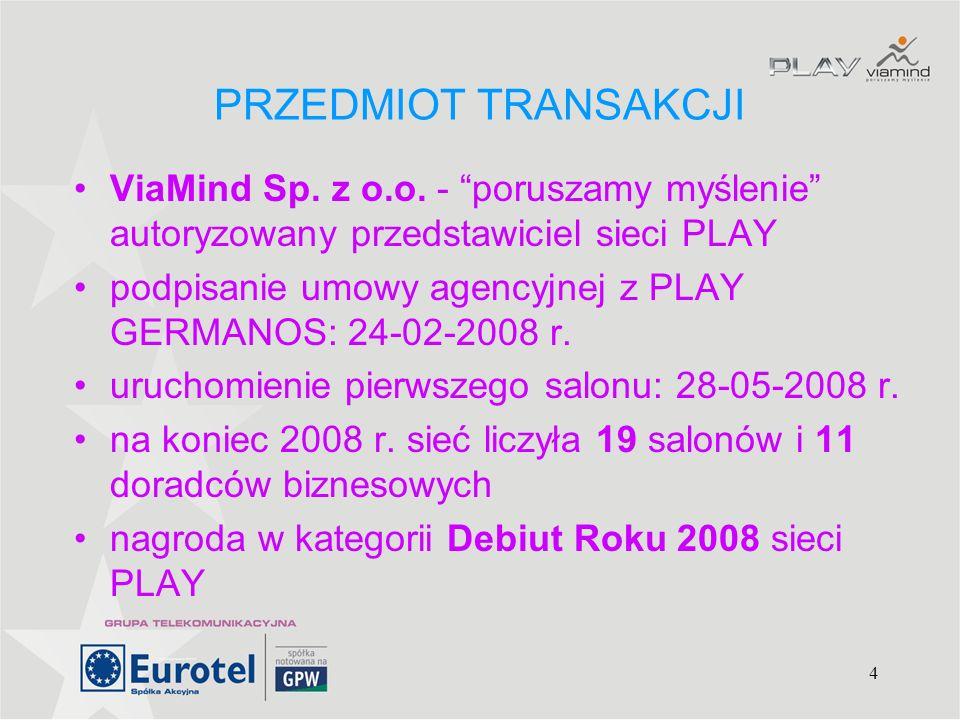 PRZEDMIOT TRANSAKCJI ViaMind Sp. z o.o. - poruszamy myślenie autoryzowany przedstawiciel sieci PLAY.