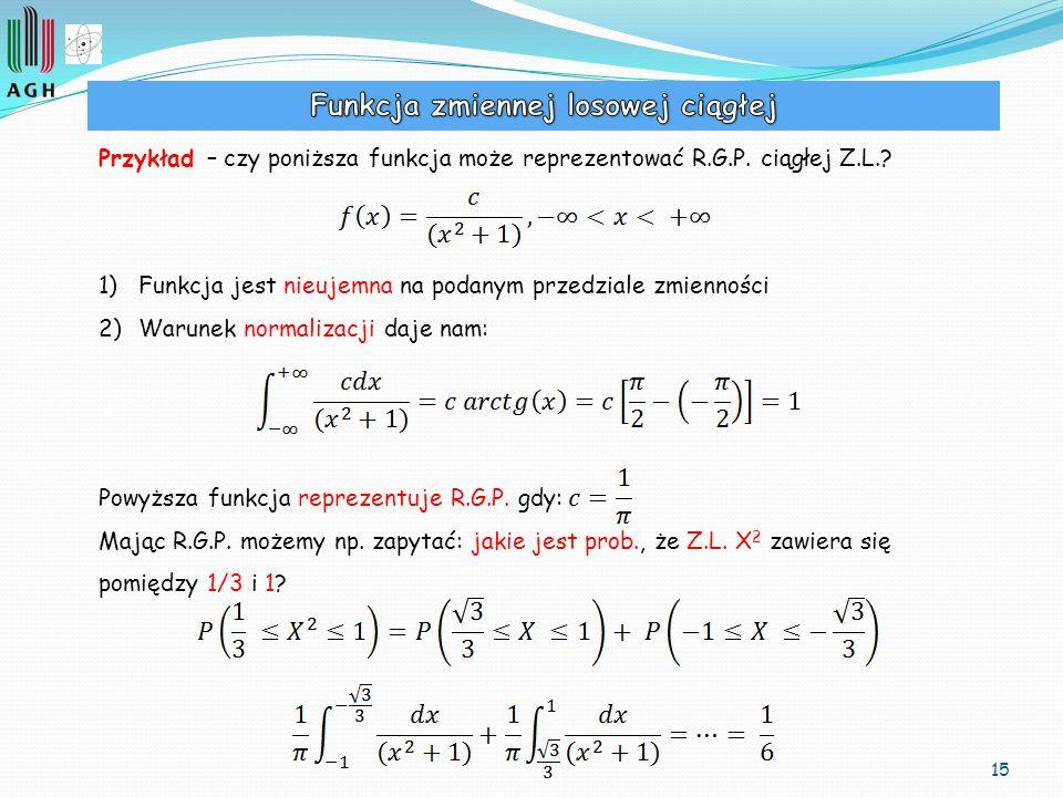 Funkcja zmiennej losowej ciągłej