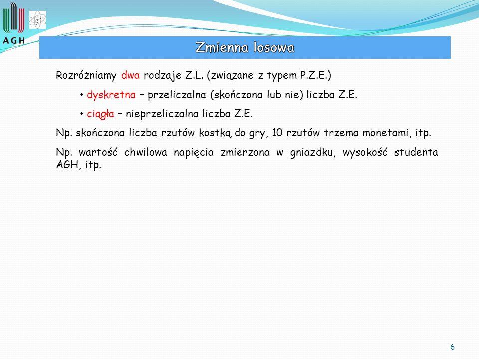 Zmienna losowa Rozróżniamy dwa rodzaje Z.L. (związane z typem P.Z.E.)