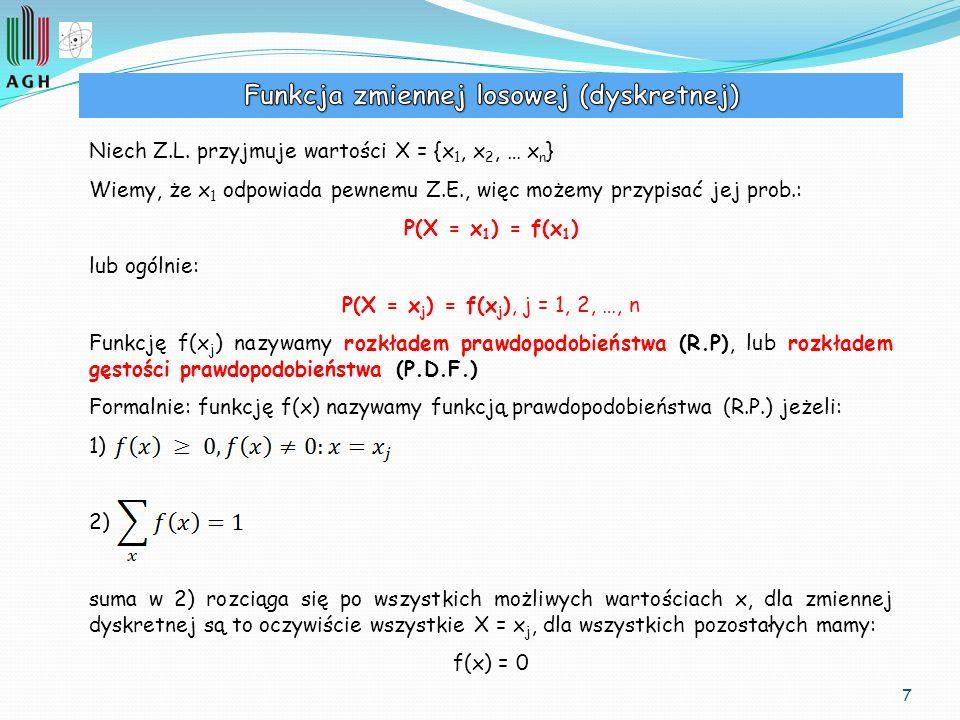 Funkcja zmiennej losowej (dyskretnej)