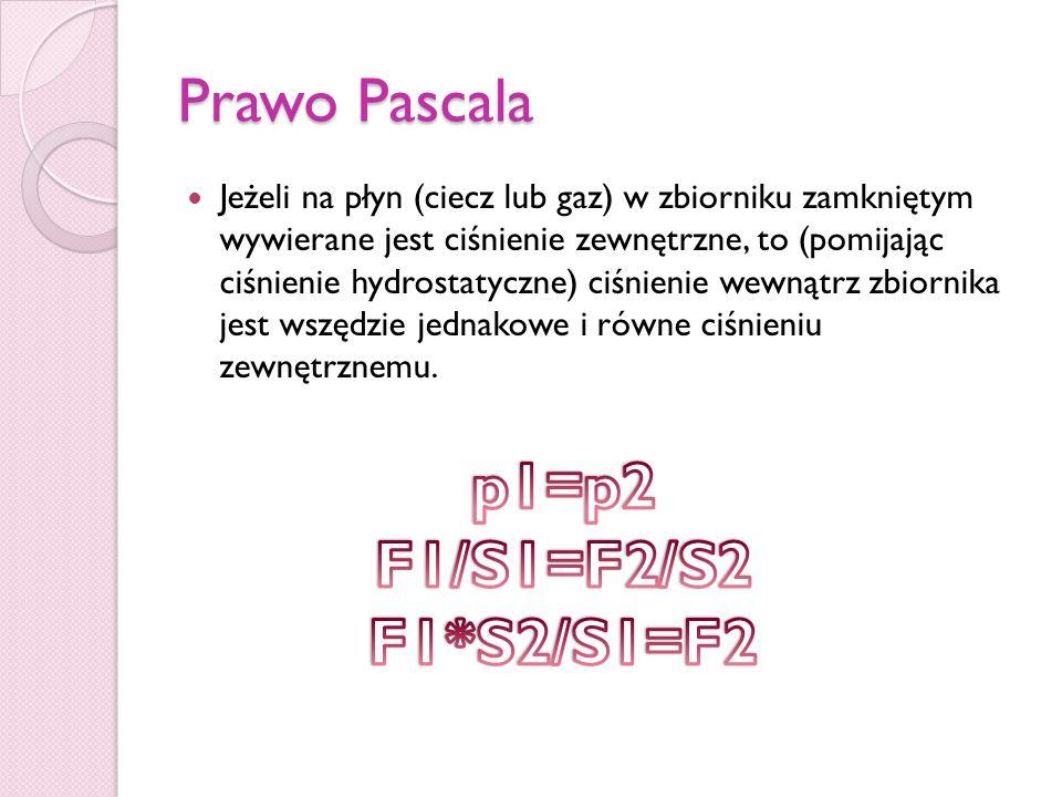 p1=p2 F1/S1=F2/S2 F1*S2/S1=F2 Prawo Pascala