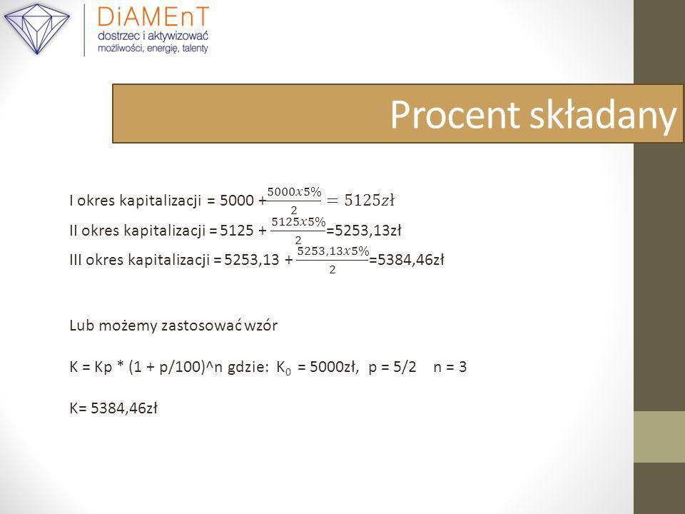 Procent składany I okres kapitalizacji = 5000 + 5000𝑥5% 2 =5125𝑧ł