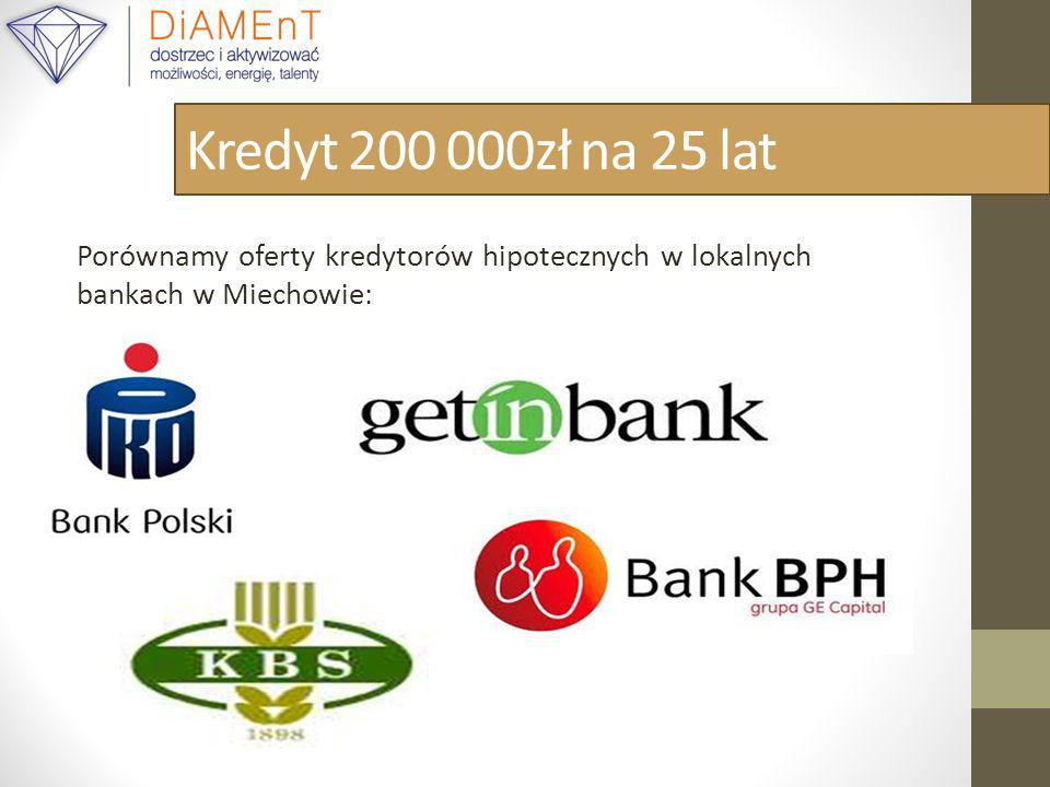 Kredyt 200 000zł na 25 lat Porównamy oferty kredytorów hipotecznych w lokalnych bankach w Miechowie:
