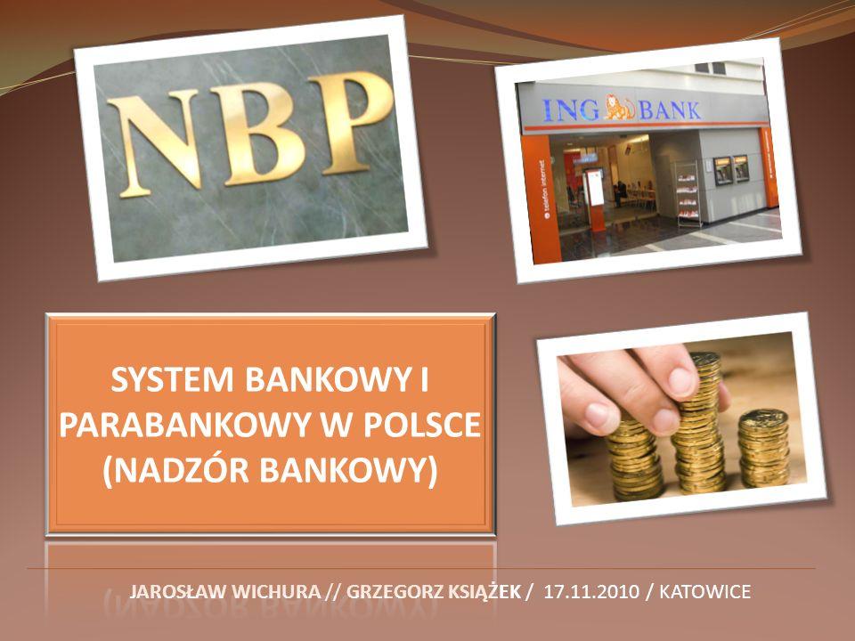 SYSTEM BANKOWY I PARABANKOWY W POLSCE (NADZÓR BANKOWY)