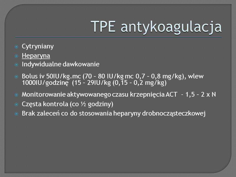 TPE antykoagulacja Cytryniany Heparyna Indywidualne dawkowanie