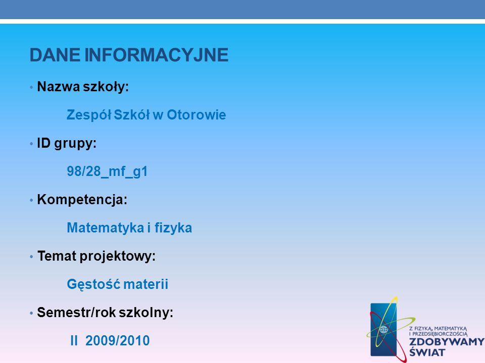 Dane INFORMACYJNE Nazwa szkoły: Zespół Szkół w Otorowie ID grupy: