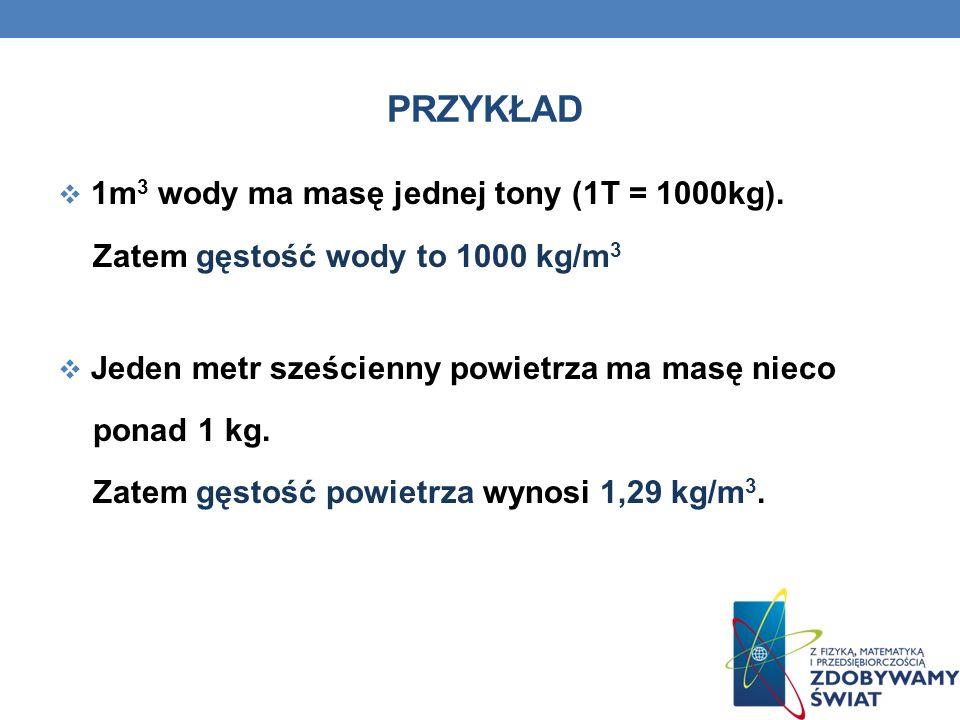 PRZYKŁAD 1m3 wody ma masę jednej tony (1T = 1000kg).