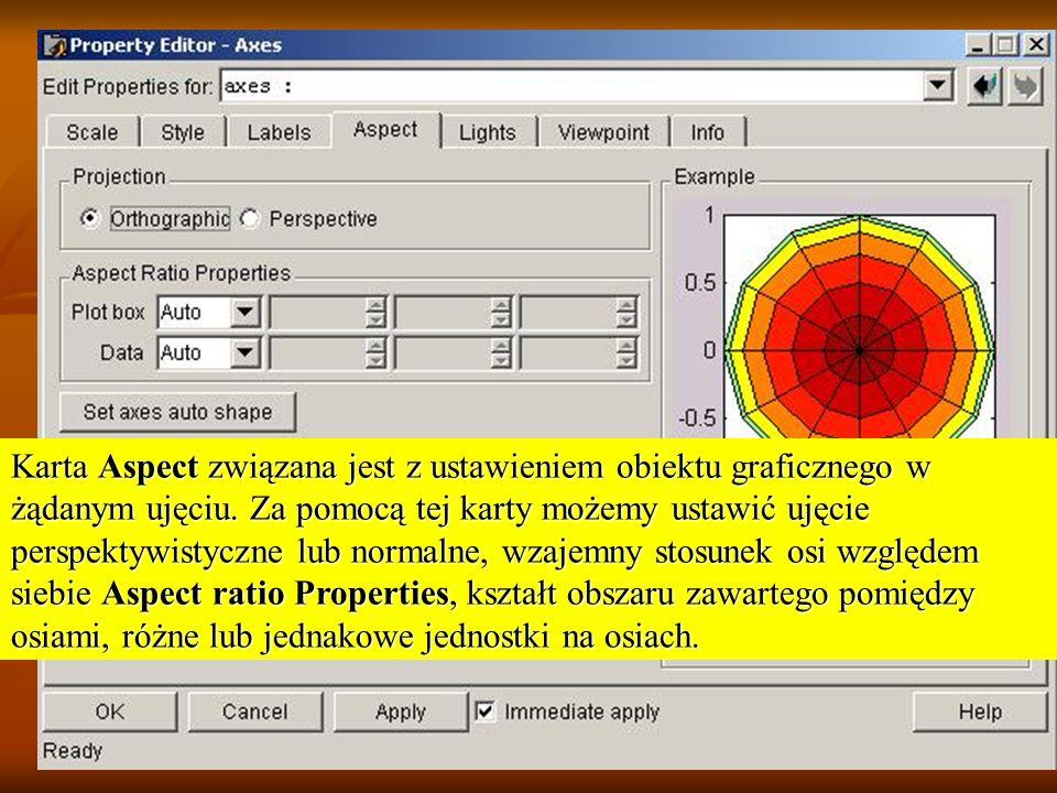 Karta Aspect związana jest z ustawieniem obiektu graficznego w