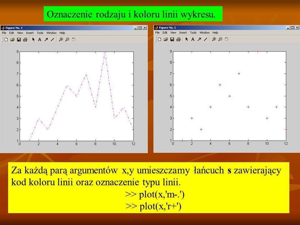 Oznaczenie rodzaju i koloru linii wykresu.