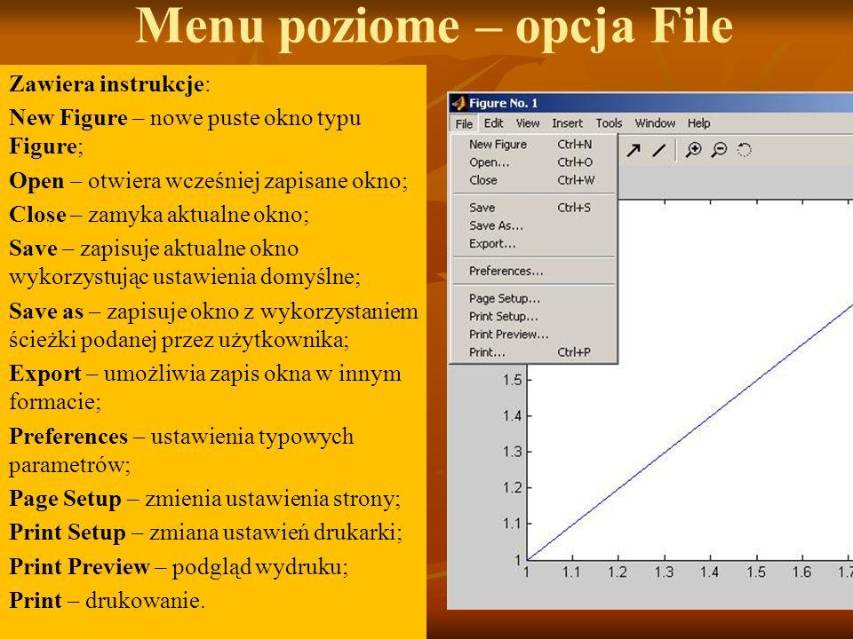 Menu poziome – opcja File