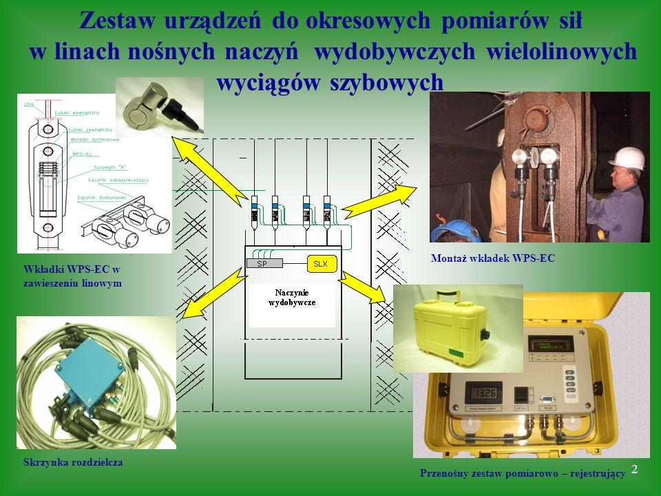 Zestaw urządzeń do okresowych pomiarów sił w linach nośnych naczyń wydobywczych wielolinowych wyciągów szybowych