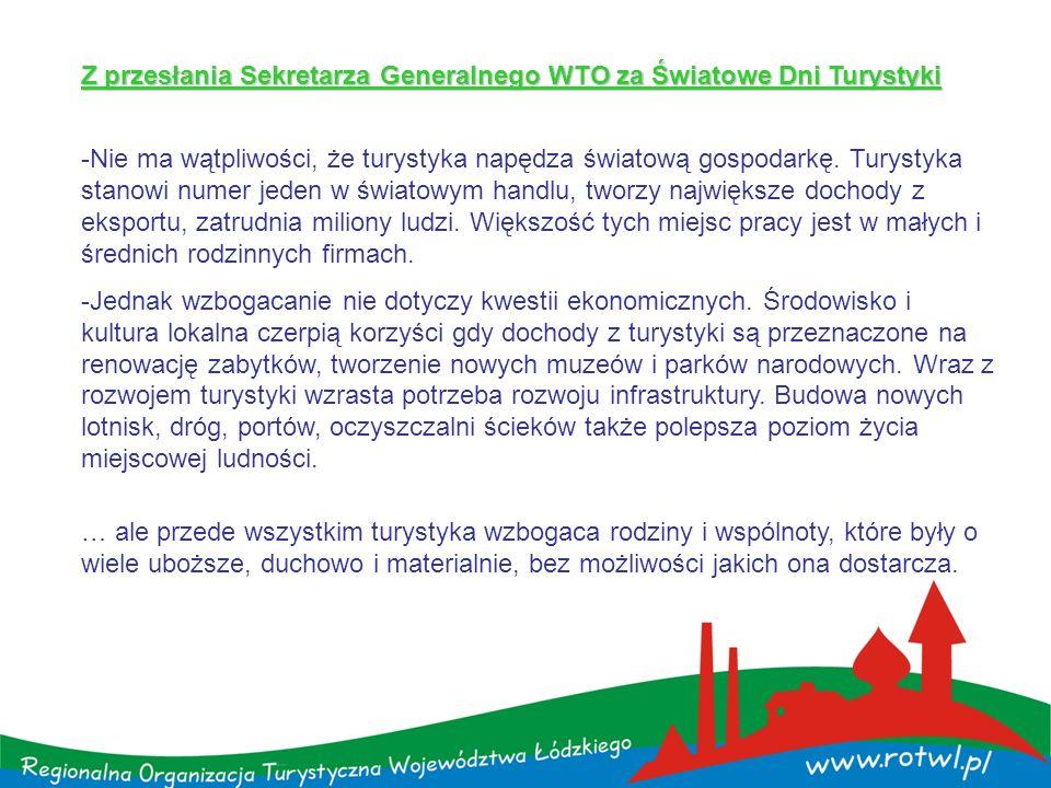 Z przesłania Sekretarza Generalnego WTO za Światowe Dni Turystyki