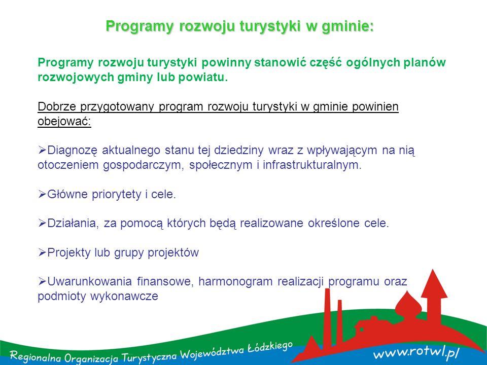 Programy rozwoju turystyki w gminie: