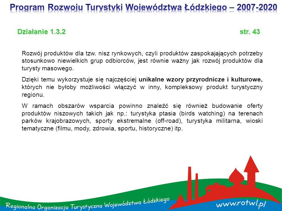 Program Rozwoju Turystyki Województwa Łódzkiego – 2007-2020