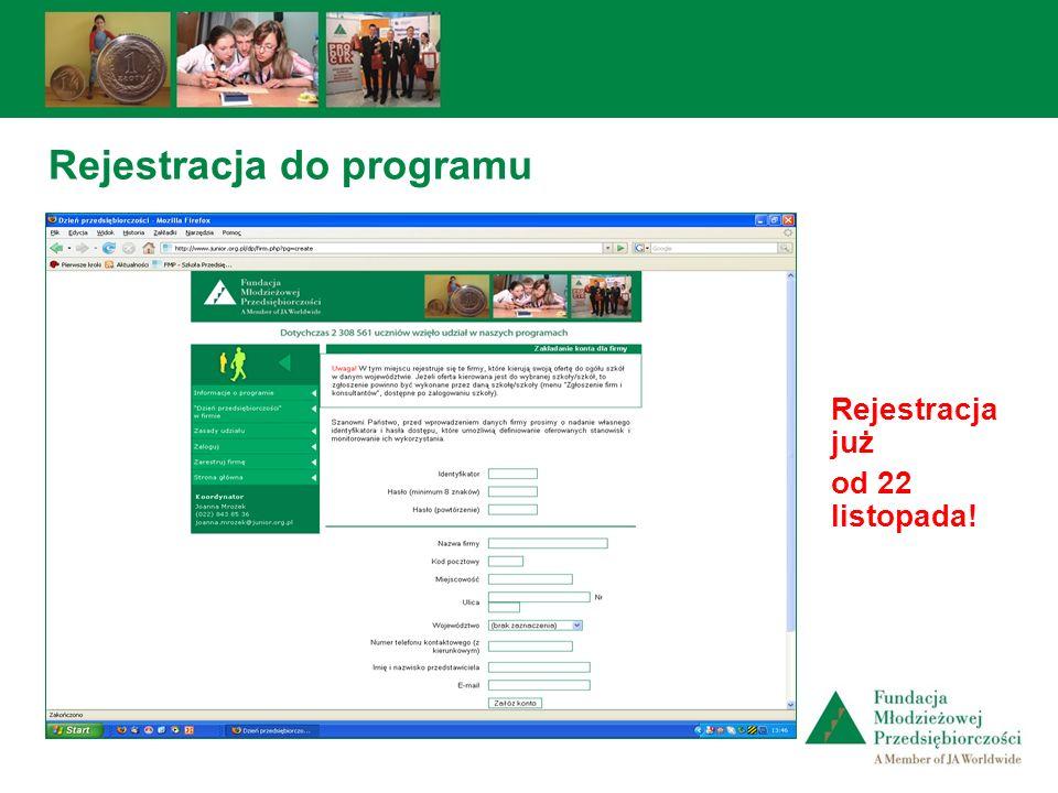 Rejestracja do programu