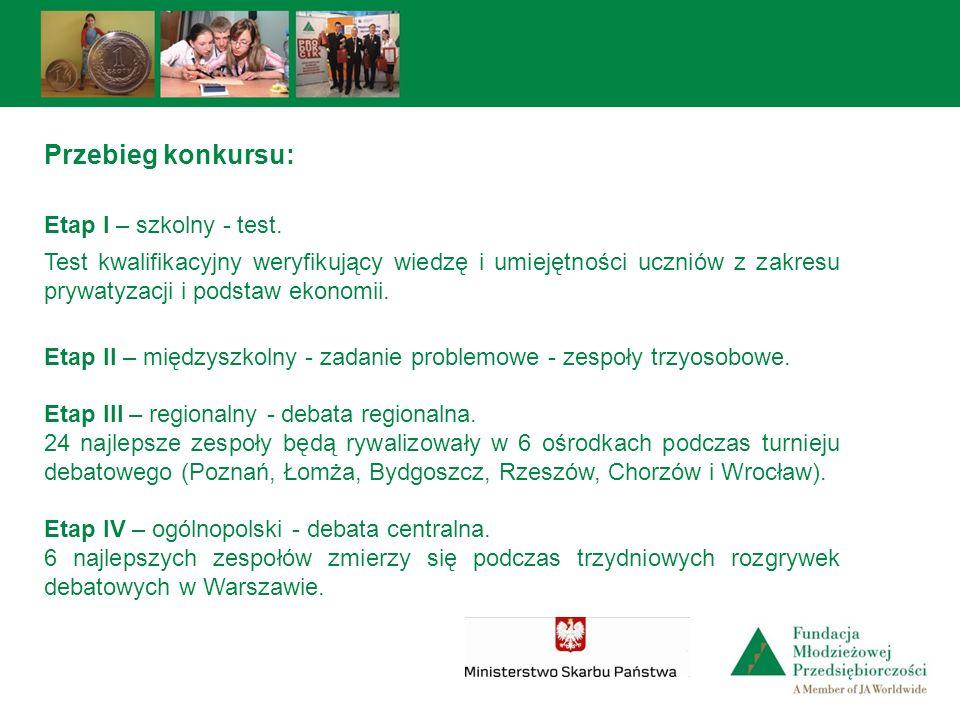 Przebieg konkursu: Etap I – szkolny - test.